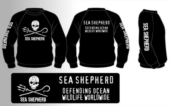 Sea Shepherd Jolly Roger Crew Neck Sweat Shirt organic cotton Black