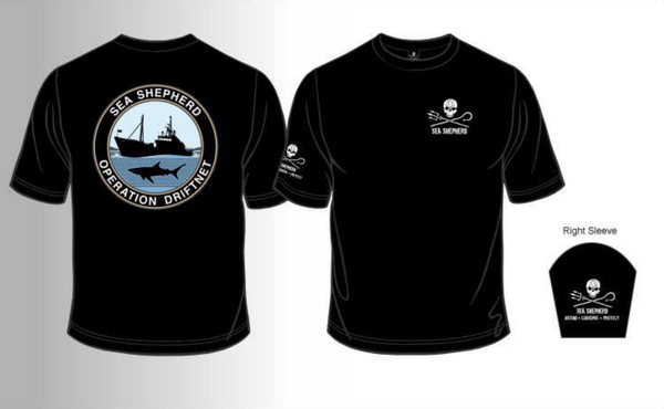 Sea Shepherd Operation Driftnet organic cotton Unisex T-shirt, Black