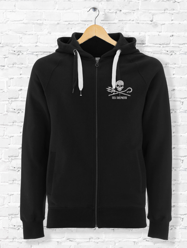 Sea Shepherd Embroidered Jolly Roger logo hoodie Organic cotton unisex, Black