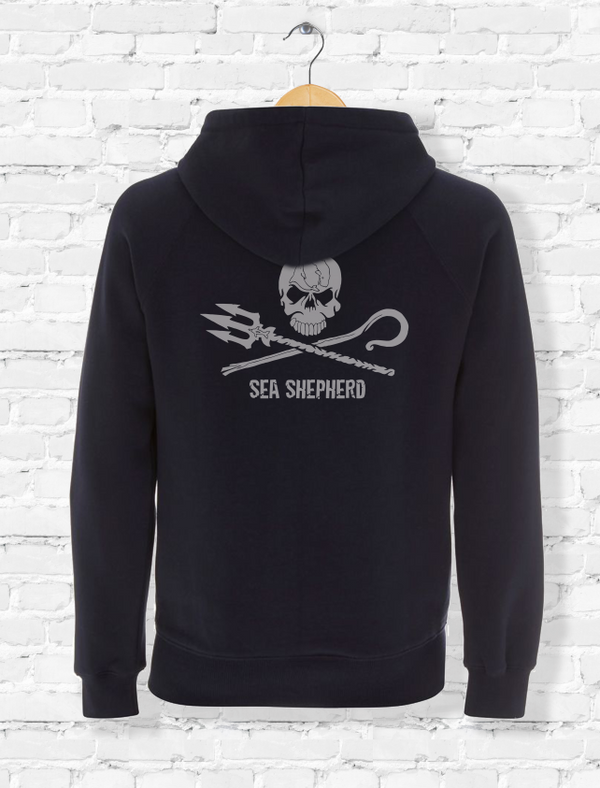 Sea Shepherd Embroidered Jolly Roger logo hoodie Organic cotton unisex, Navy Blue
