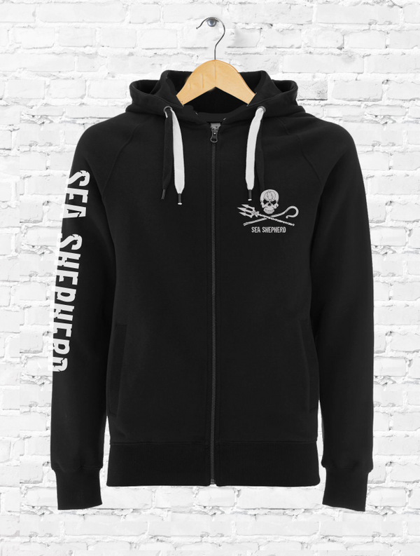 Sea Shepherd Jolly Roger organic cotton Full Zip Unisex Hoodie in Black