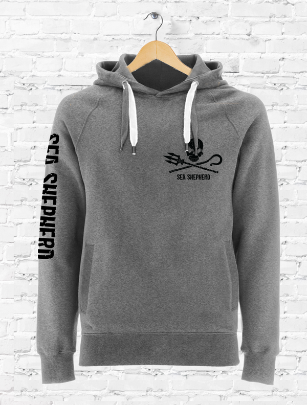 Sea Shepherd Jolly Roger organic cotton Pullover Unisex Hoodie in Grey
