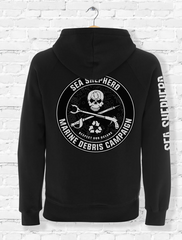 Sea Shepherd Marine Debris Team organic cotton full zip Unisex hoodie, Black