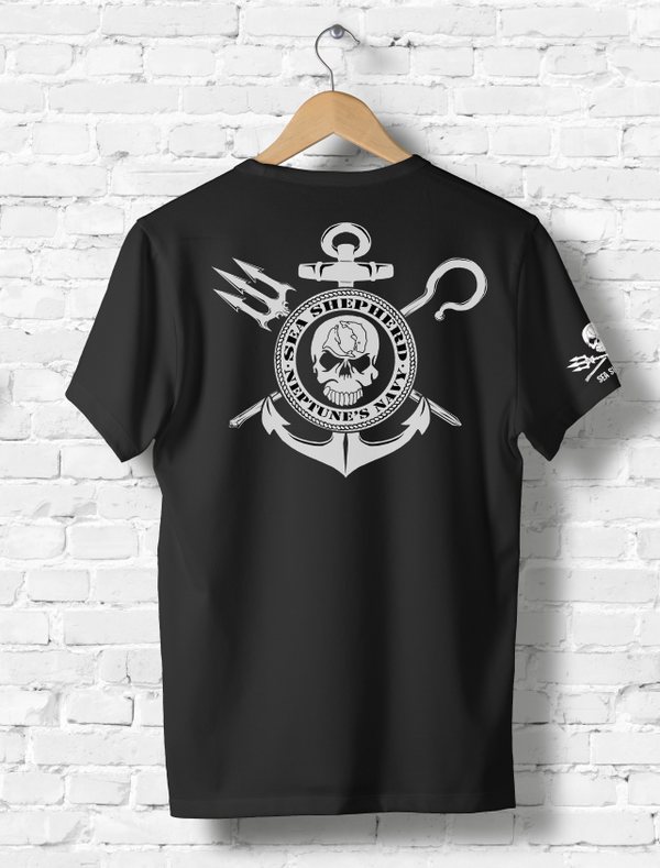 Sea Shepherd Neptune's Navy logo organic cotton Unisex T-shirt, Black