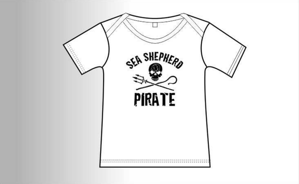 Sea Shepherd Jolly Roger Baby T Shirt, organic cotton in white