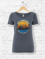 Since '77 - Ladies Retro T-Shirt - Light Charcoal / Faded Denim