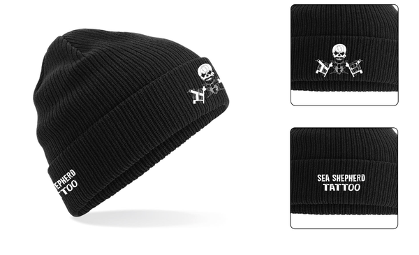 Sea Shepherd Tattoo embroidered Beanie - 100% Organic Cotton