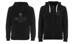 'Sea Shepherd Tattoo' logo Embroidered Black Unisex Hoodie, full zip, organic cotton