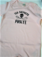Sea Shepherd Jolly Roger logo Baby Grow - Pink