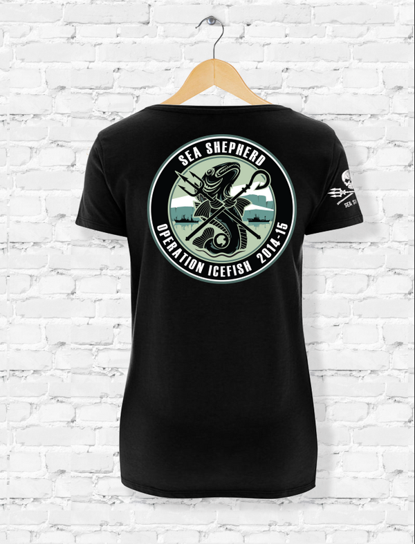 Sea Shepherd Operation Icefish organic cotton Ladies T-shirt, Black - XL ONLY!