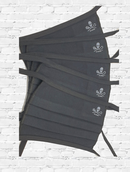 5 Face Coverings / Masks Sea Shepherd Jolly Roger logo in BLACK organic cotton