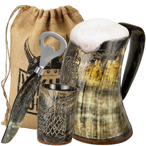 Viking Culture Ox Horn Mug, Shot Glass, and Bottle Opener (3 Pc. Set) Authentic 16-oz. Custom Intricate Design - Natural Finish