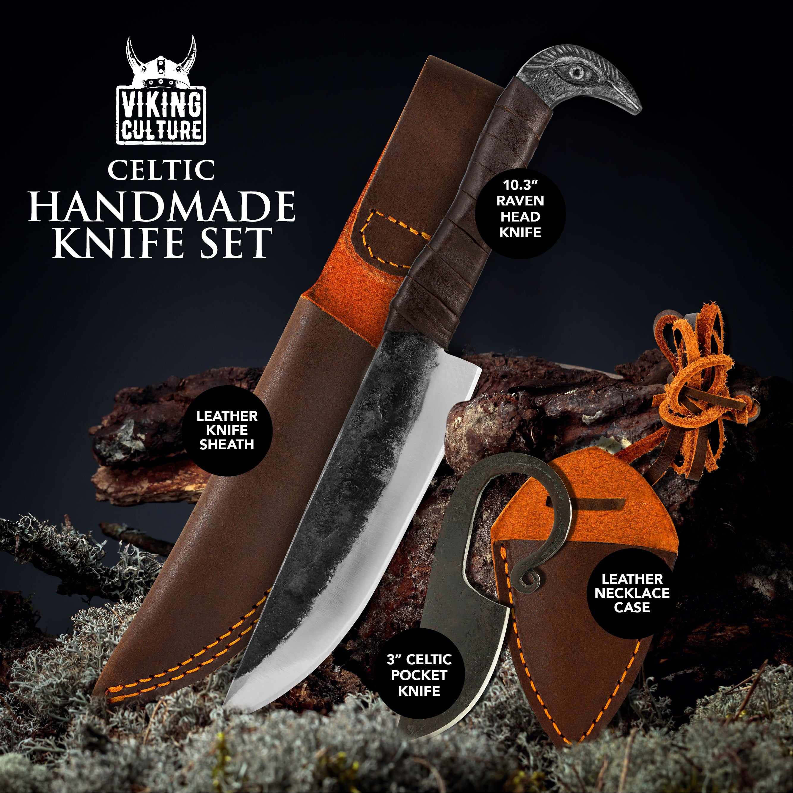 "Viking Culture 2-Piece Viking Knife Set - 10.3"" Raven-Head Viking Knife with 6.5"" Blade & Leather Sheath - 3"" Celtic Pocket Knife with Necklace Case - Sharp Hand-Forged Real Carbon Steel"