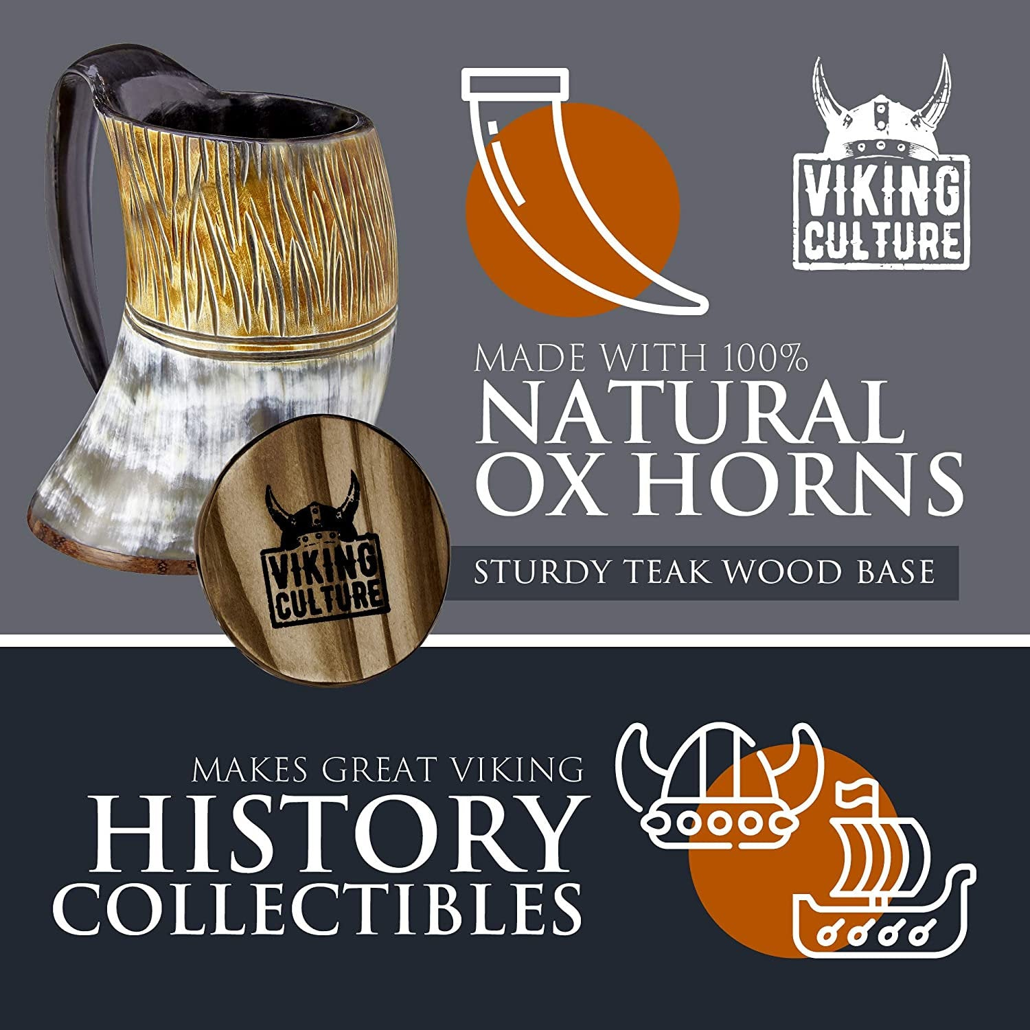 Viking Culture Ox Horn Mug, Shot Glass, and Axe Bottle Opener (3 Pc. Set) 16-oz. Beer Tankard Custom Intricate Design | The Jarl