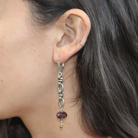 amethyst dangle chain earrings for women