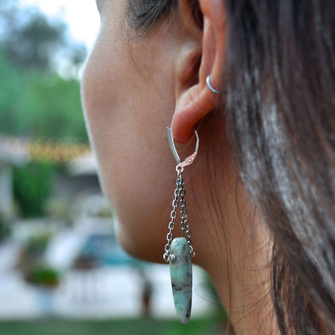 chrysoprase stone womens dangle earrings