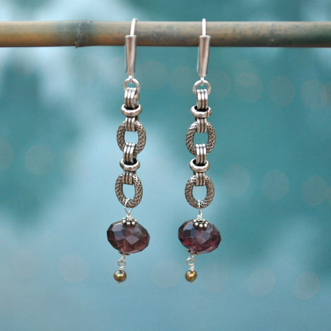 long amethyst chain earrings