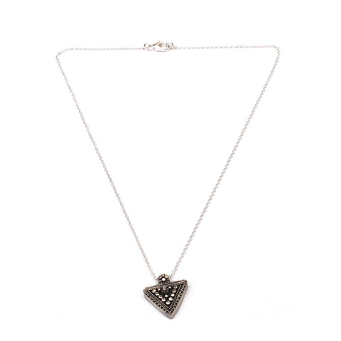 silver triangle pendant necklace for women