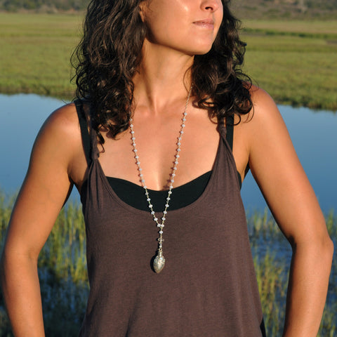 agate stone long necklace