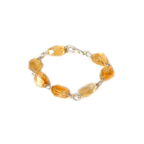 citrine and silver boho chic style bracelet