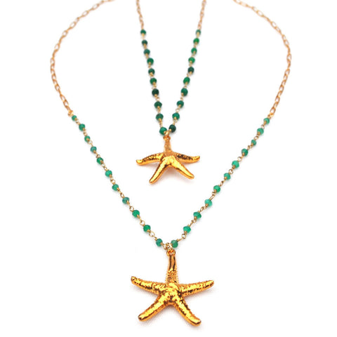 unique gold starfish mermaid necklace for women