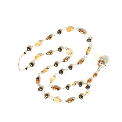 long boho chic style freshwater pearls necklace