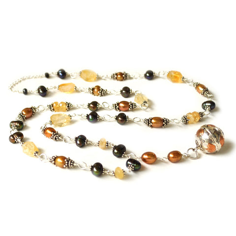 freshwater pearl autumn color wire wrap long necklace