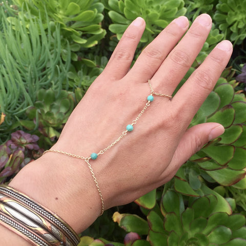 Gold Chrysoprase Hand Chain