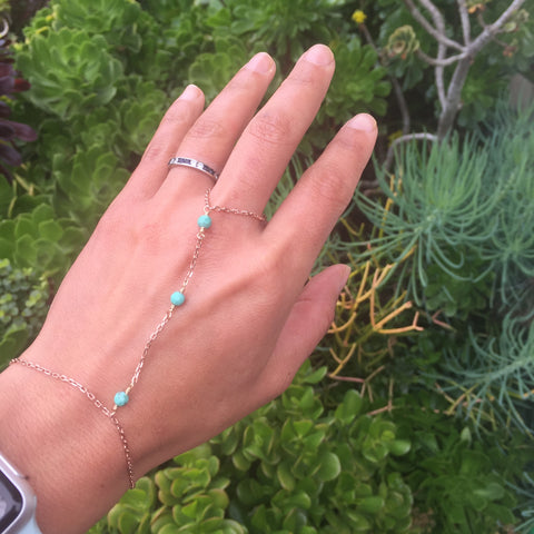 Rose Gold Chrysoprase Hand Chain