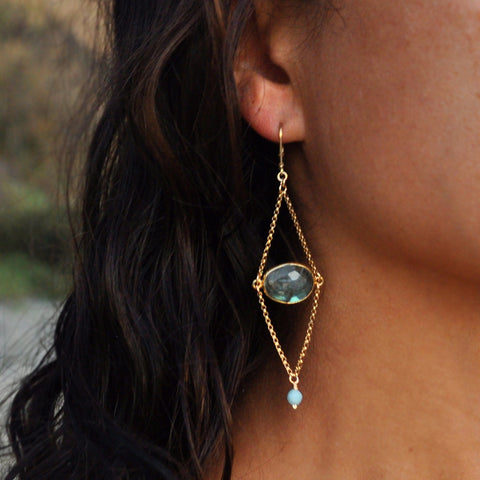 long boho chic style labradorite dangle earrings for women