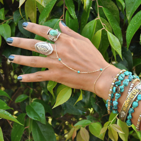 turquoise gold slave bracelets for women