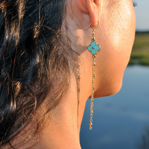 long blue clover gold dangle earrings