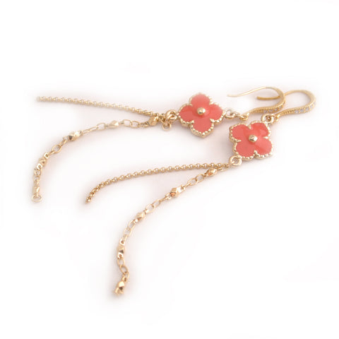 pink coral clover dangle earrings