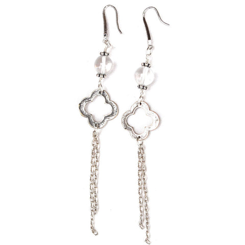 silver crystal dangle drop earrings
