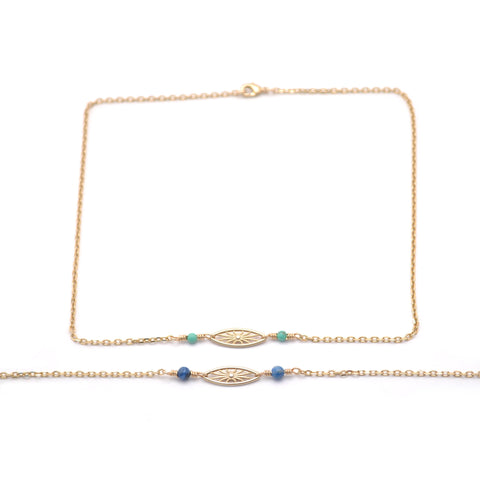 gold and blue short third eye necklace for women