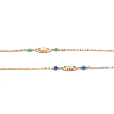gold and blue short third eye necklace