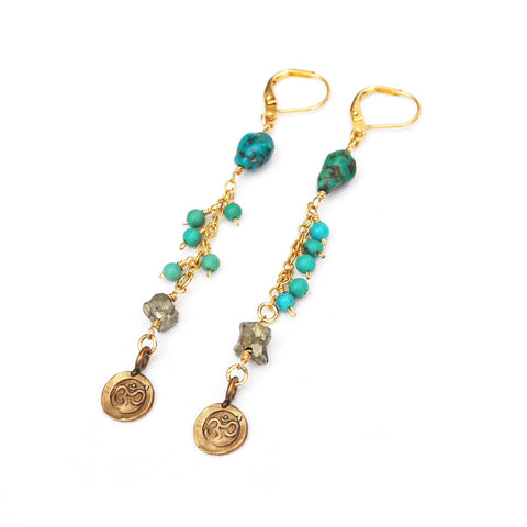 yoga turquoise gold dangle earrings