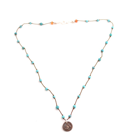 knotted turquoise bead om yoga necklace