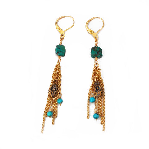 turquoise hampsa hand gold dangle earrings
