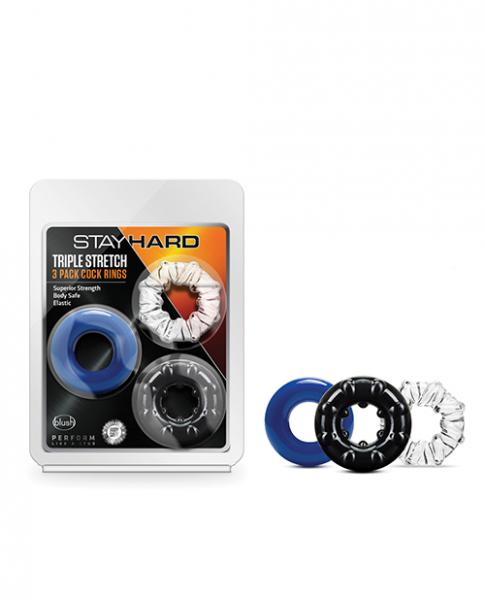 Stay Hard Triple Stretch 3 Pk Cock Ring Multi Color