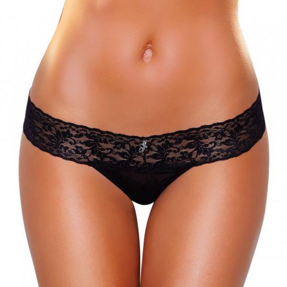 Vibrating Lace Thong Black M-L