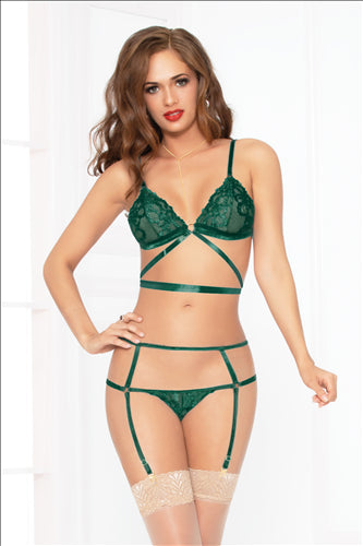 Lace Bra Set Green O-S