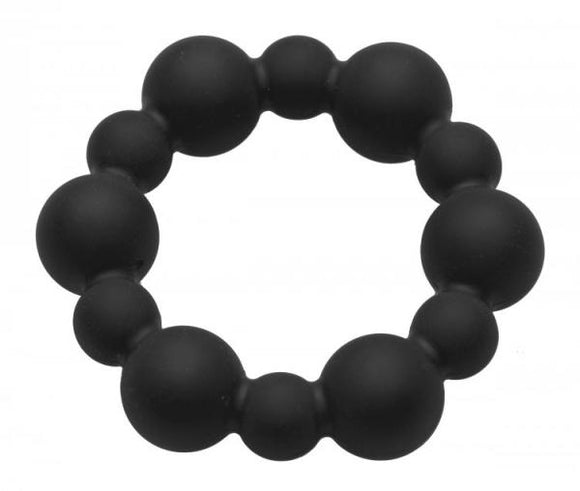 Shadow Silicone Beaded Cock Ring Black