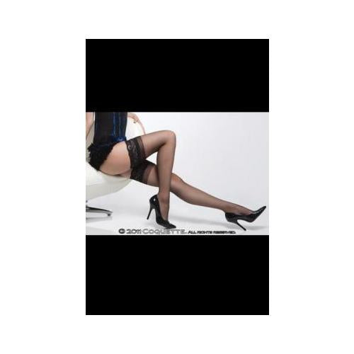 Sheer Thigh High W- Silicone Grip Lace Top Blk Os
