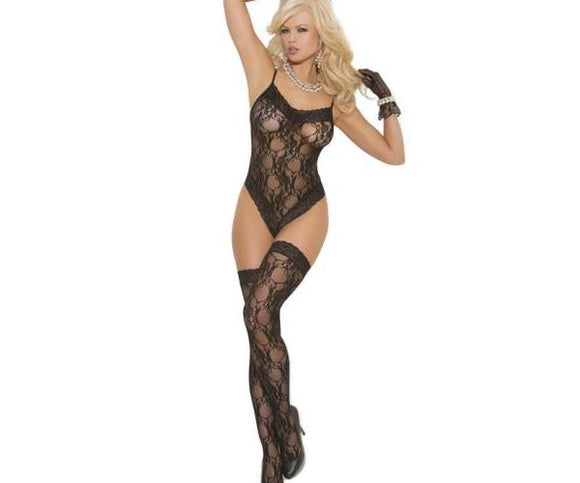 Lace Teddy & Stockings O-s