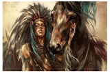 Indian Lady and Horse
