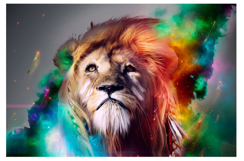 Colorful Lion Looking Up