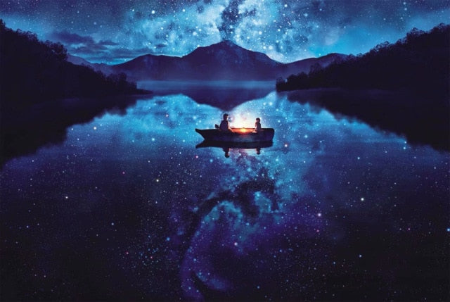 Boat Under Starry Night