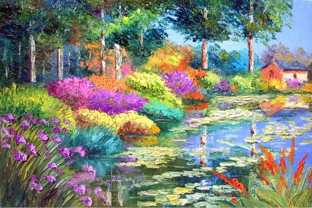 Colorful Flowers by the Lake
