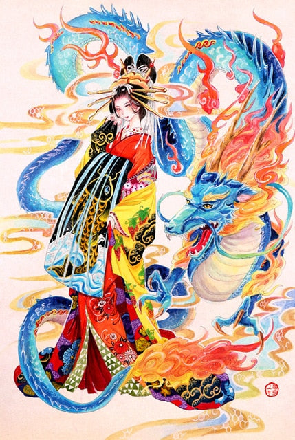 Oriental Dragon and Lady